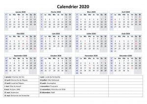 Calendrier 2020 Avec les Jours Fériés