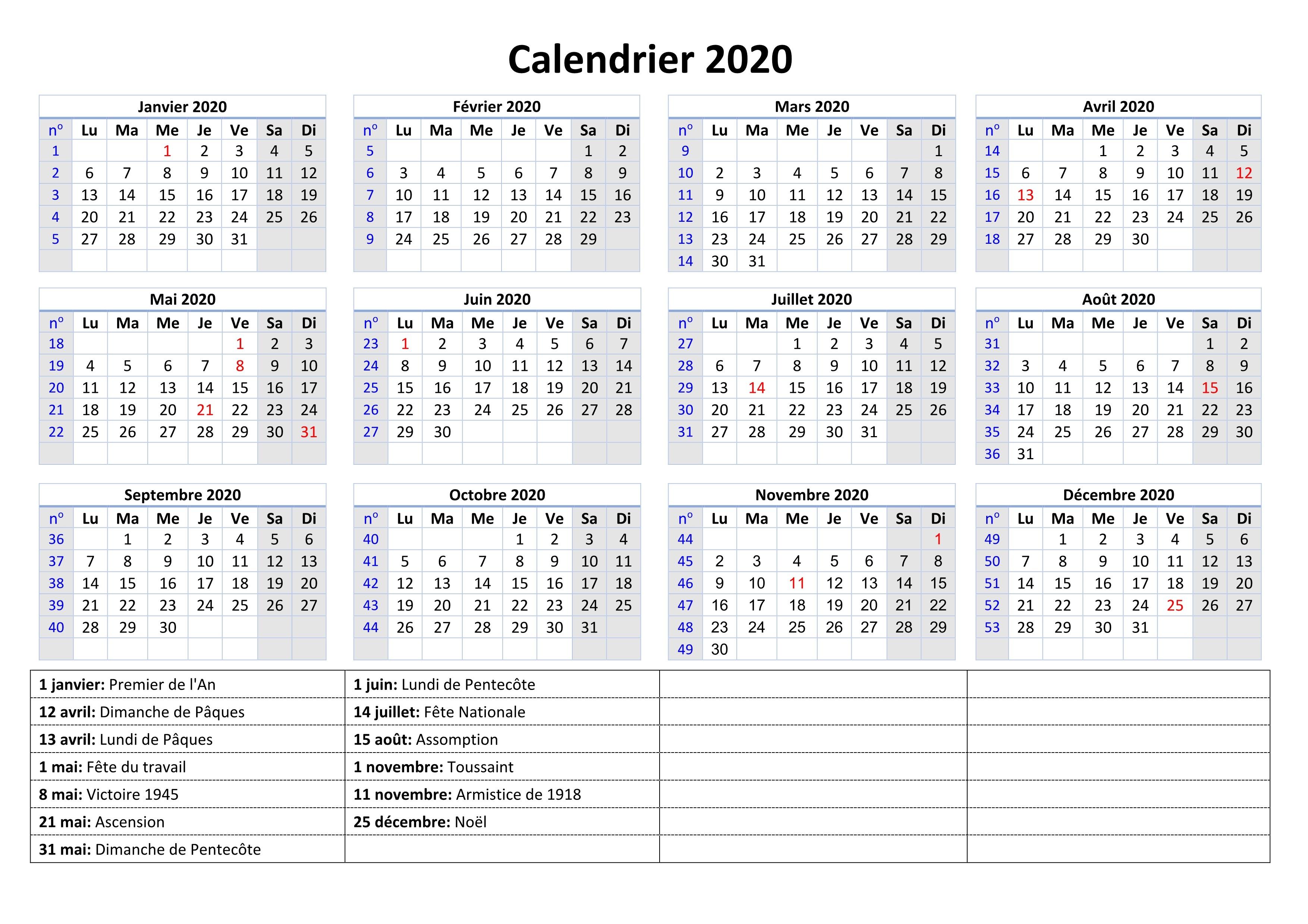 Calendrier 2020 Et 2020 Avec Vacances Scolaires.Calendrier Jours Feries 2020 Calendrier Vacances Pdf