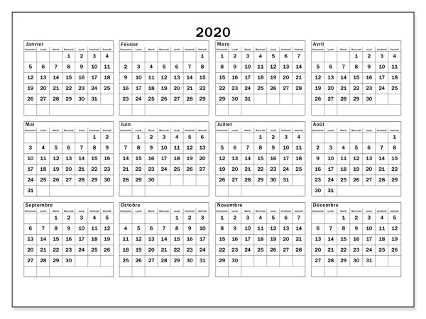 Calendrier 2020 avec semaine et Vacances Scolaires