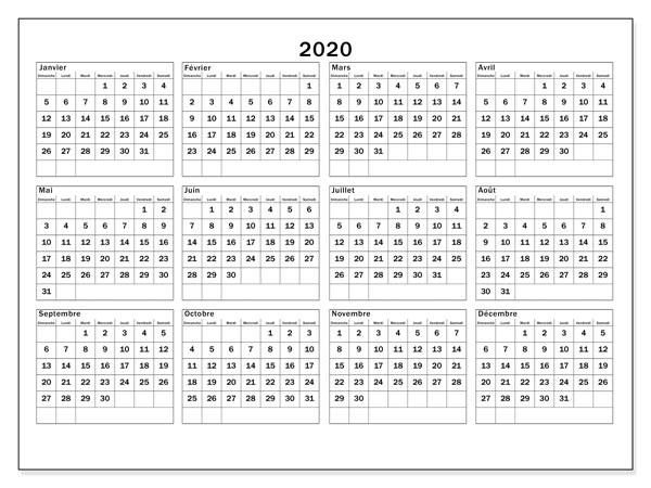 Calendrier 2020 Semaine.Calendrier 2020 Avec Semaine Et Vacances Scolaires