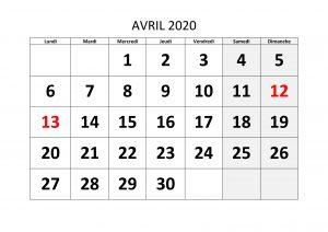 Calendrier Avril 2020