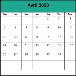 Calendrier Avril 2020 vacances