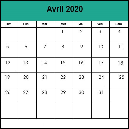 Calendrier Avril 2020 vacances