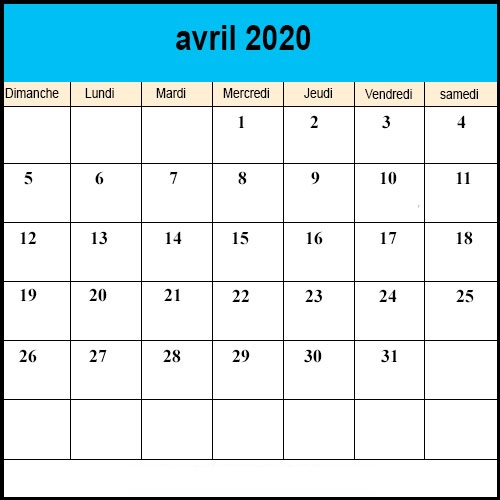 Calendrier Avril 2020 à Imprimer.Calendrier Avril 2020 A Imprimer Calendrier Avril Vacances