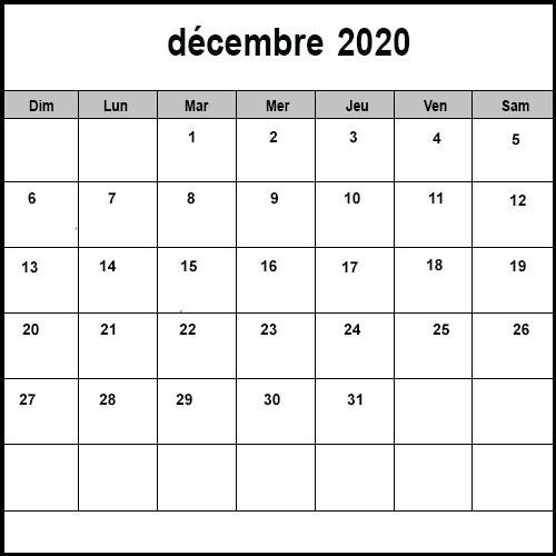 Calendrier Décembre2020