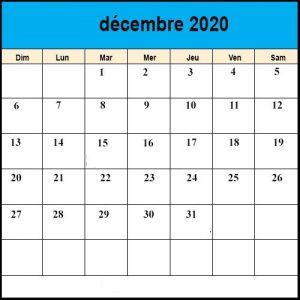 Calendrier Décembre2020 vacances