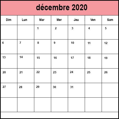 Calendrier De Decembre 2020.Calendrier Decembre 2020 A Imprimer Calendrier Decembre