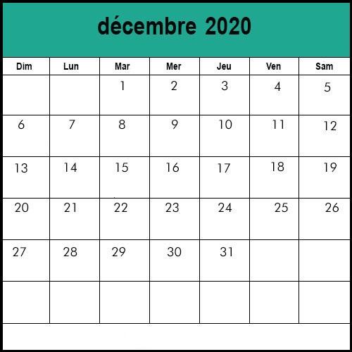Calendrier Décembre2020 jours fériés