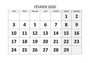 Calendrier Février 2020