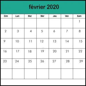 Calendrier Février 2020 vacances