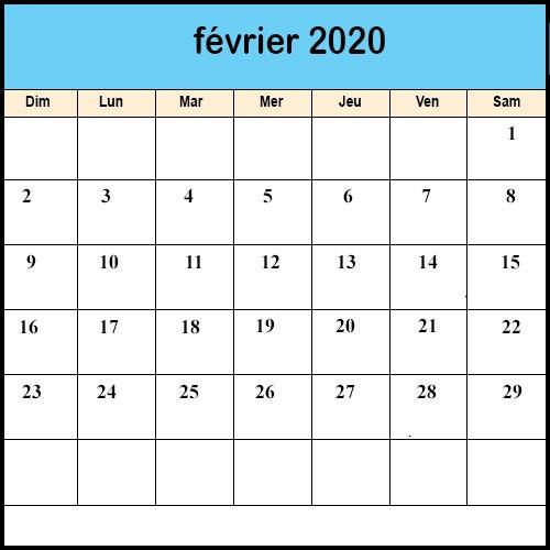 Calendrier Février 2020 jours fériés