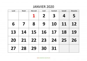 Calendrier Janvier 2020