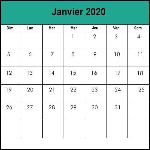 Calendrier Janvier 2020 Mensuel