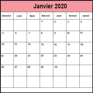 Calendrier Janvier 2020 vacances