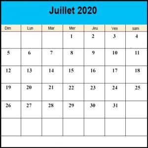 Calendrier Juillet2020 jours fériés