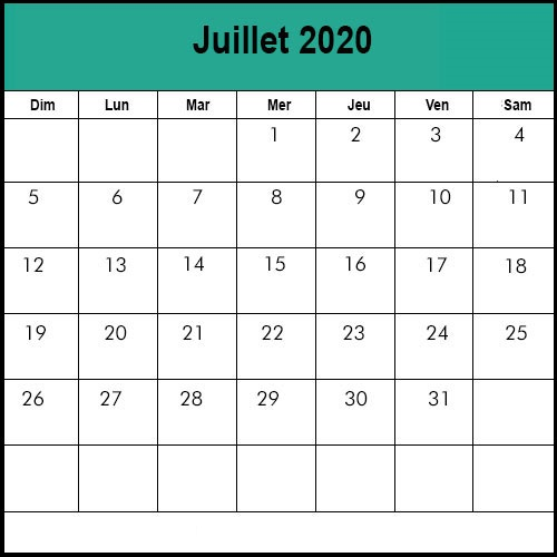 Calendrier août2020 vacances