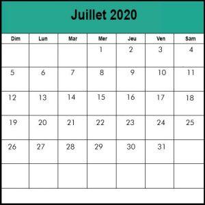 Calendrier Juillet2020 vacances