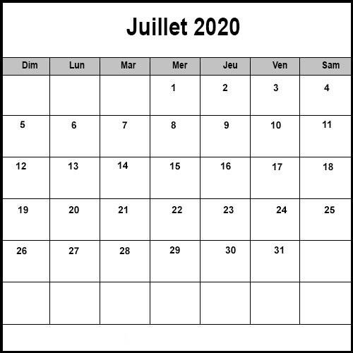 Calendrier Juillet2020