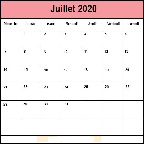 Calendrier Juillet 2020 Mensuel