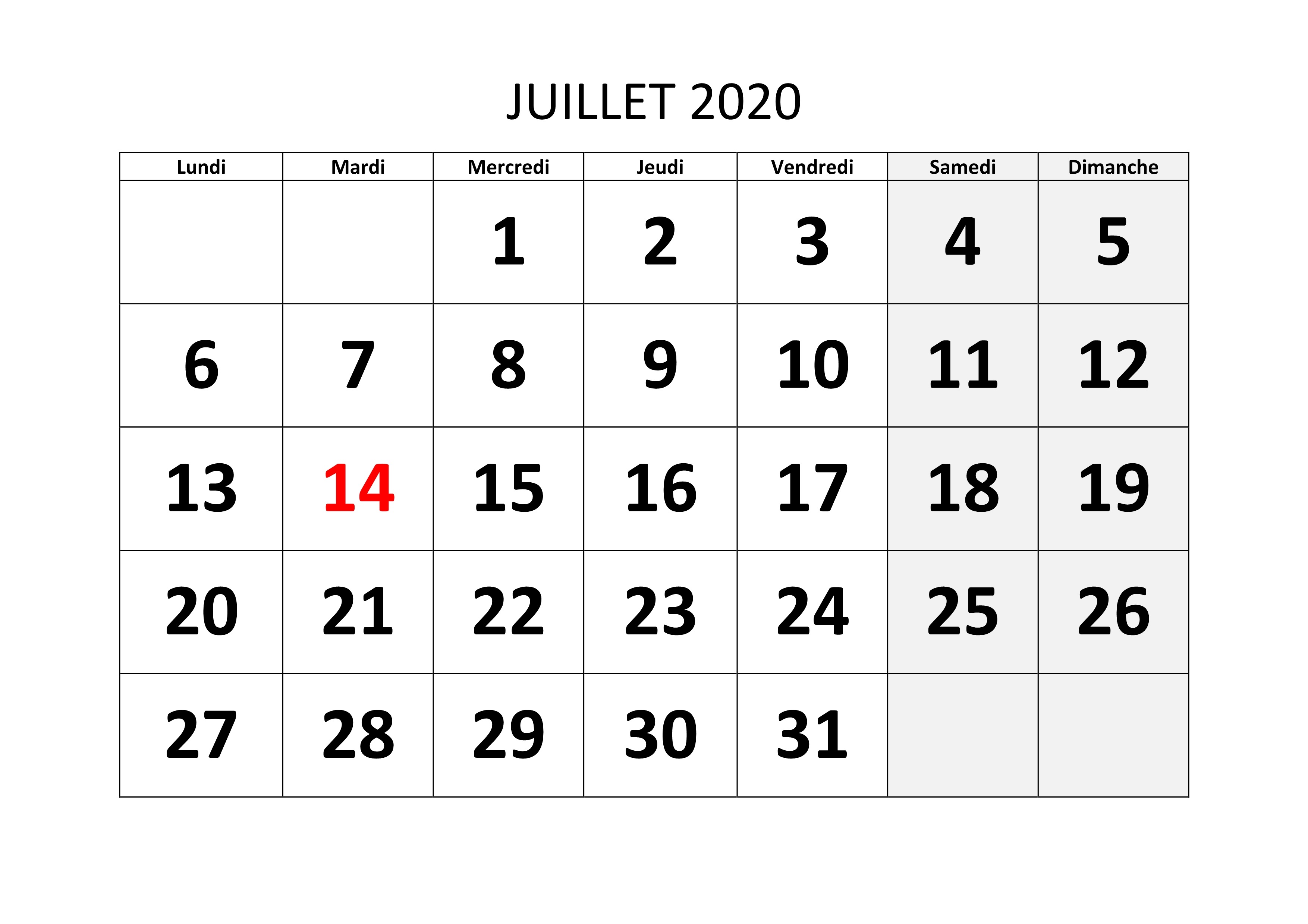 Calendrier Juillet 2020