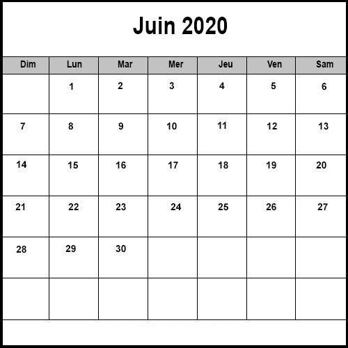 Calendrier Juin 2020 vacances