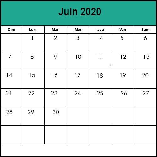 Calendrier Juin 2020.Calendrier Juin 2020 A Imprimer Calendrier Juin Vacances