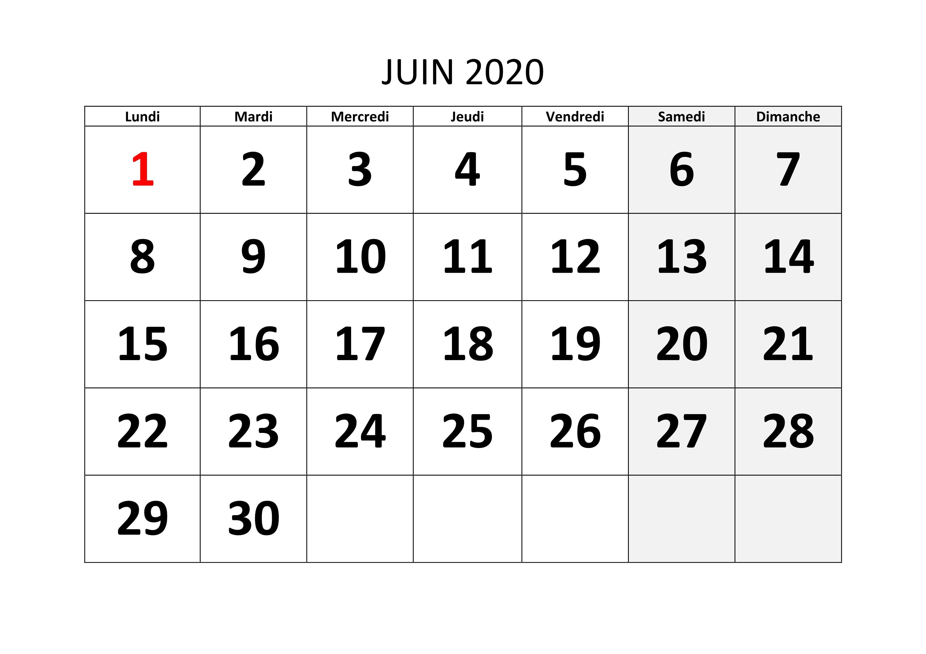Calendrier Juin 2020