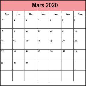 Calendrier Mars 2020 Mensuel
