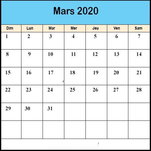 Calendrier Mars 2020 jours fériés