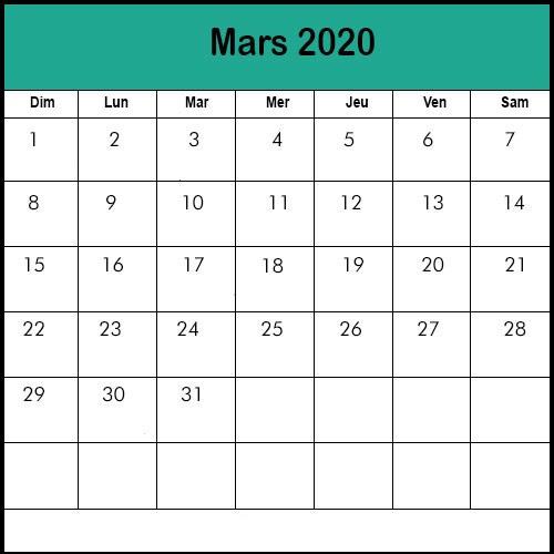 Calendrier Mars 2020 vacances