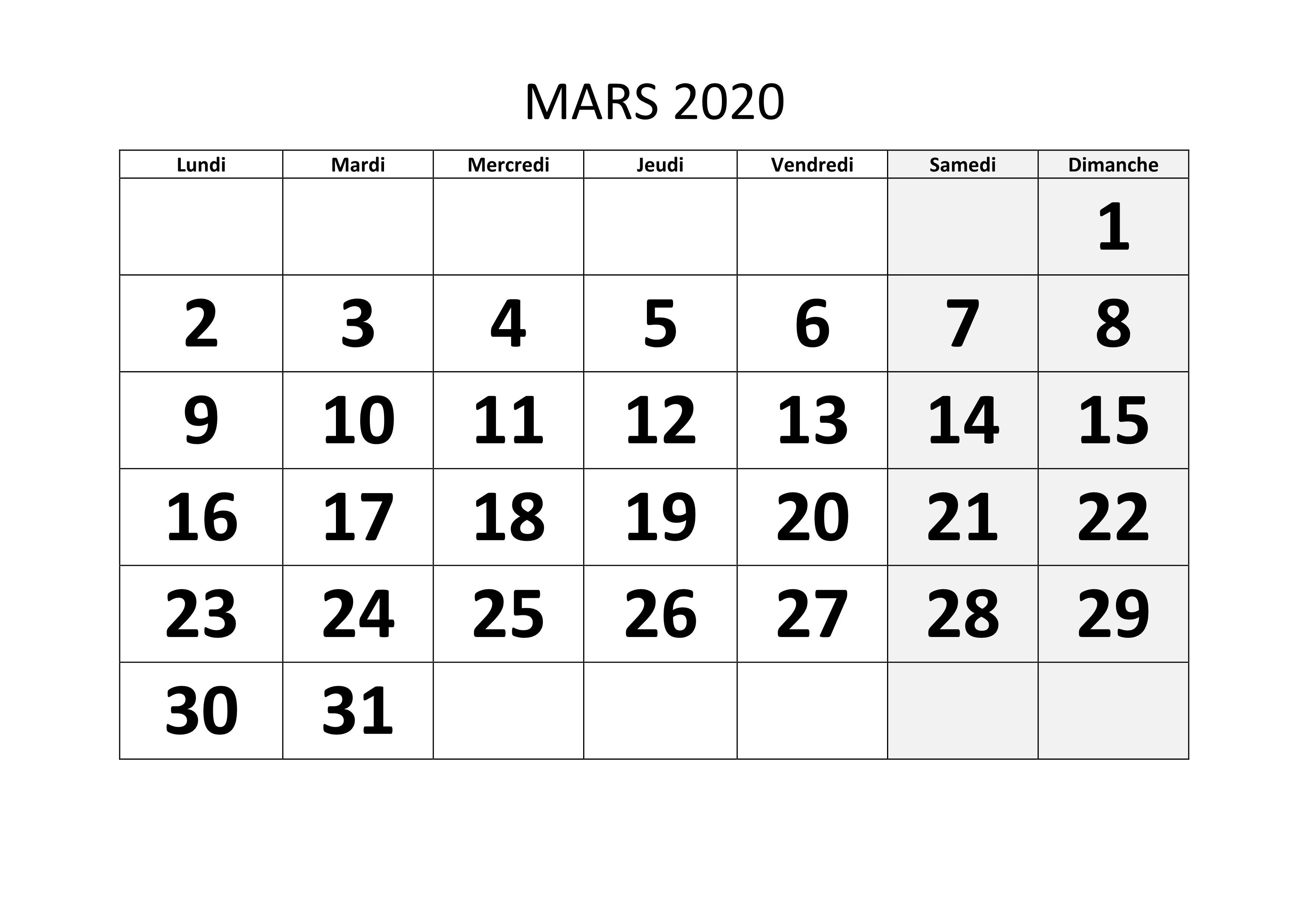 Calendrier Mars 2020