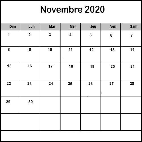 Calendrier Novembre2020