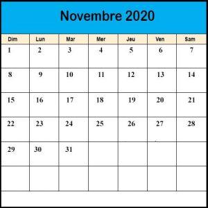Calendrier Novembre2020 vacances