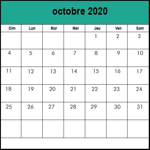Calendrier Octobre2020 vacances