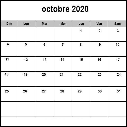 Calendrier Octobre2020