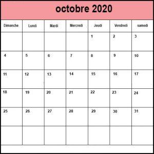 Calendrier Octobre 2020 Mensuel