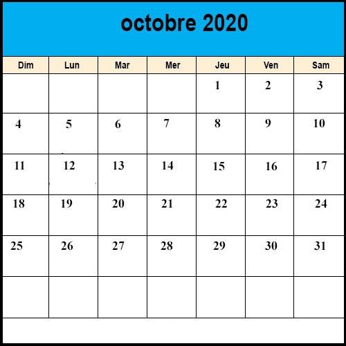 Calendrier Octobre 2020.Calendrier Octobre 2020 A Imprimer Calendrier Octobre