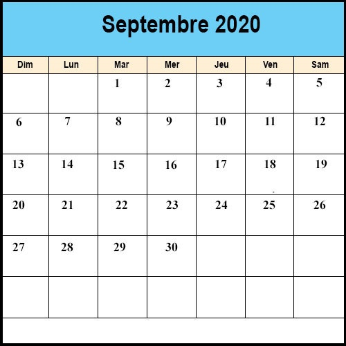 Calendrier Septembre2020 vacances
