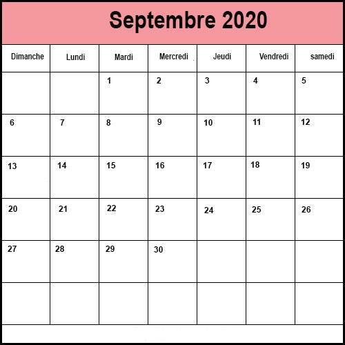Calendrier Septembre 2020 Mensuel