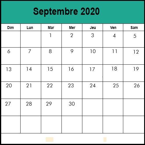 Calendrier Septembre2020