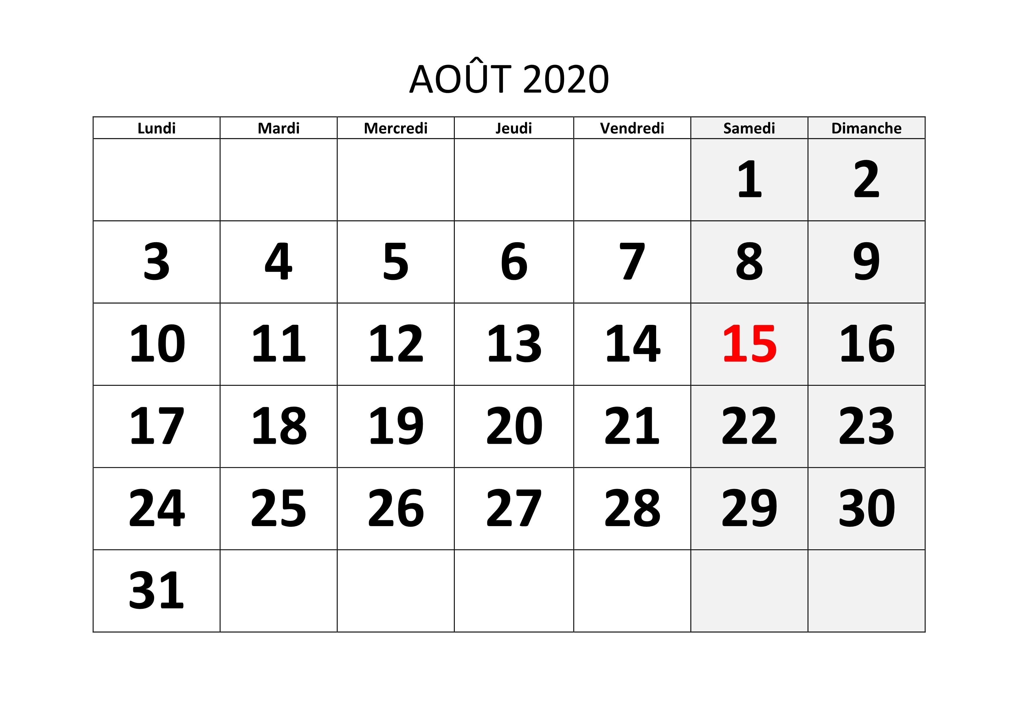 Calendrier Juillet Aout 2020.Calendrier Mensuel 2020 A Imprimer Calendrier Mensuel Jours