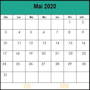 Calendrier Mai 2020 vacances