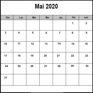 Calendrier Mai2020