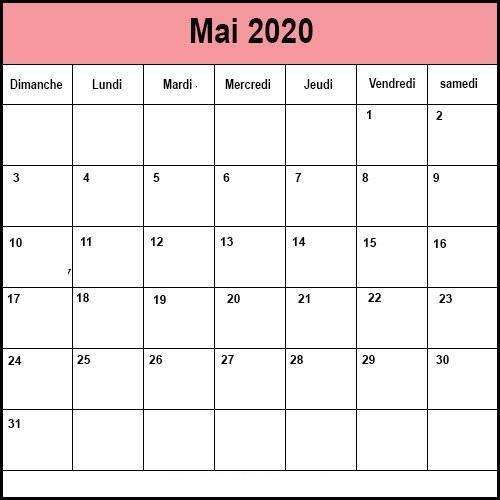 Calendrier Mai 2020 Mensuel