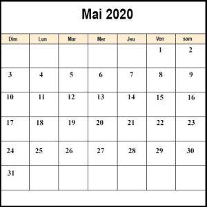 CalendrierMai 2020 jours fériés