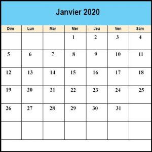 Calendrier Janvier 2020 jours fériés
