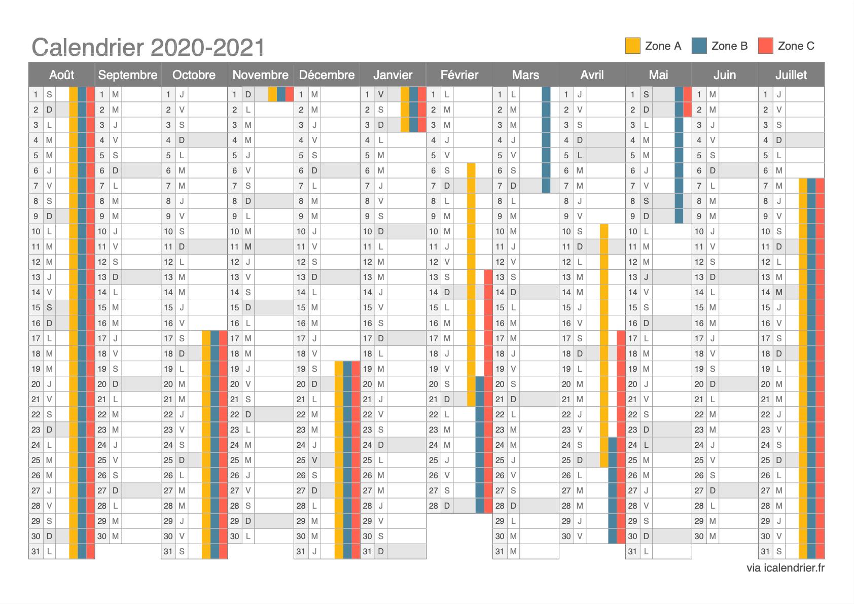 Vacances Scolaire 2020- 2021 Calendrier