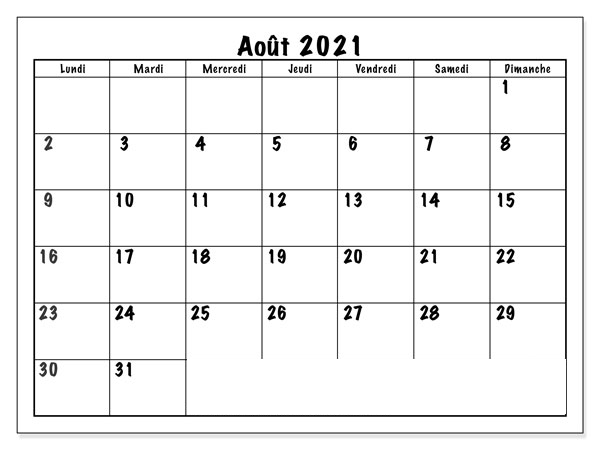 Calendrier Août 2021 à Imprimer