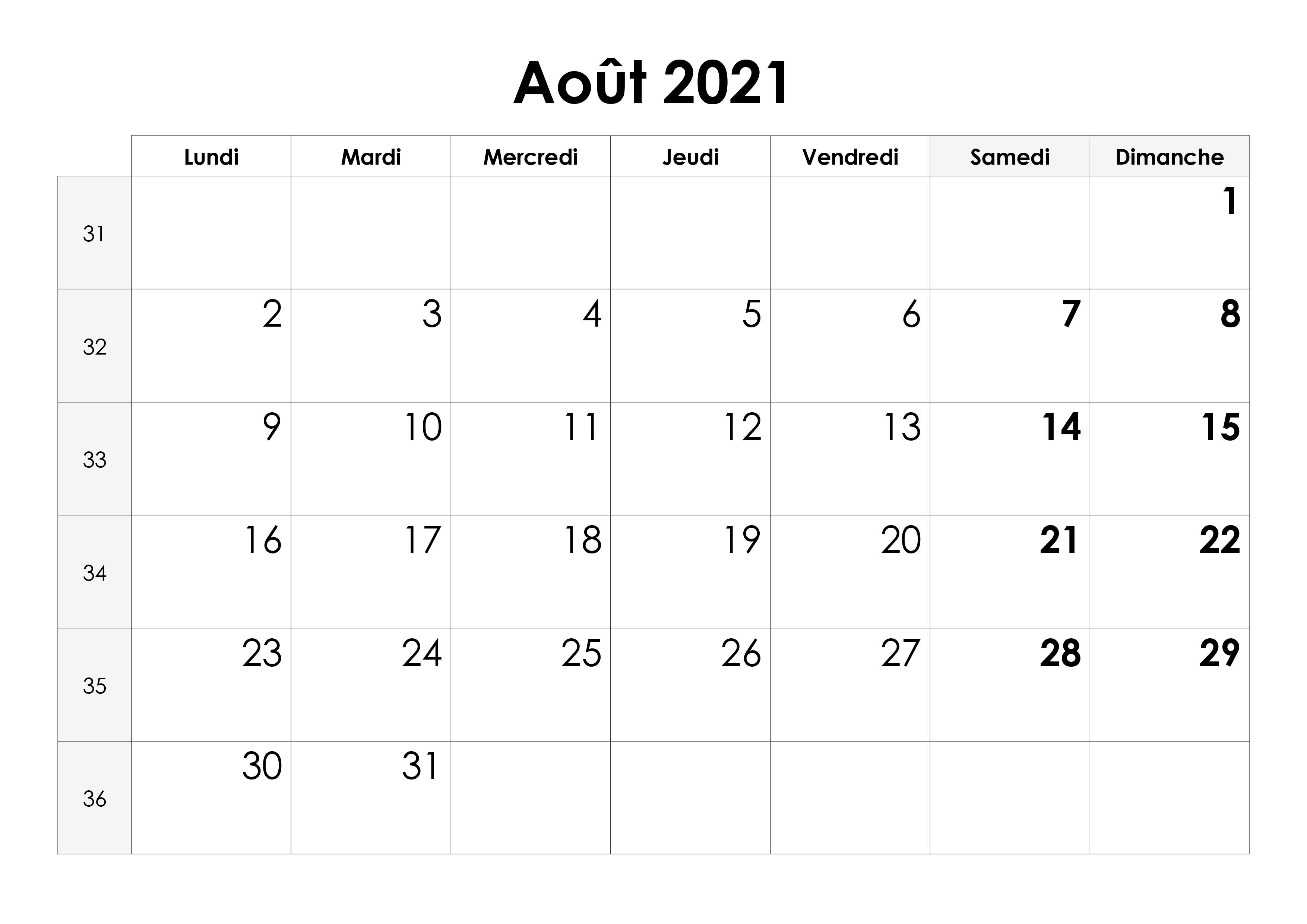 Calendrier Août2021