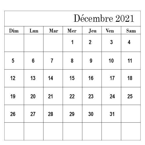 Calendrier Décembre 2021 Mensuel